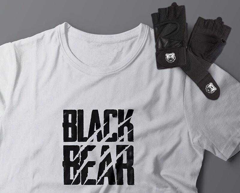 black bear design camiseta